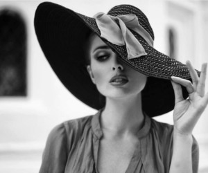 fashion, hat, and black and white image