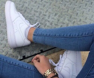 white, jeans, and nike image
