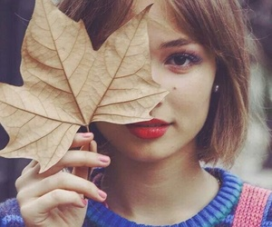 girl and leaves image