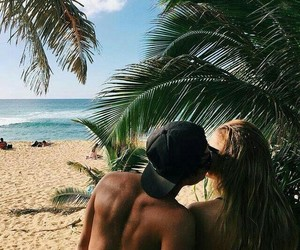 beach, couples, and palms image