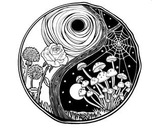black and white, mushroom, and yin yang image