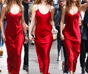 fashion, red dress, and selena gomez image