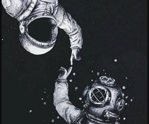 background, black and white, and spaceman image