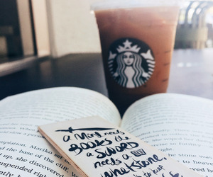 book, starbucks, and drink image