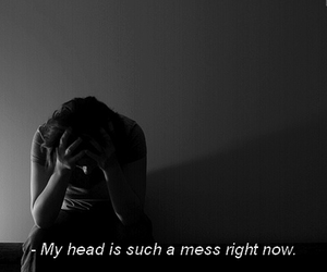mess, black and white, and head image