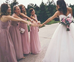 wedding, dress, and bridesmaids image