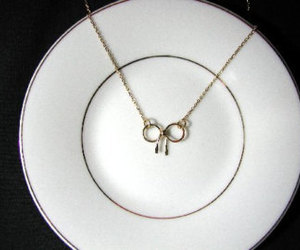 necklace, mini bow necklace, and gold plated mini bow image