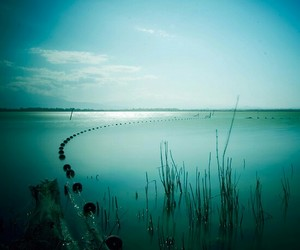blue, landscape photography, and pond image