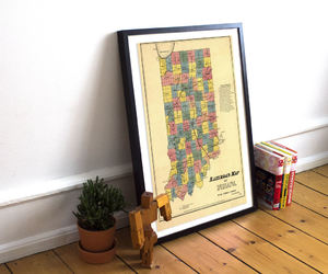 etsy, indiana, and old map wall art image