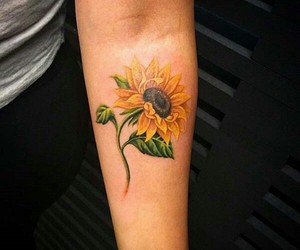 tattoo, sunflower, and flower image