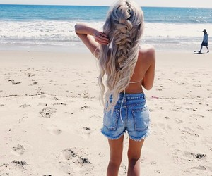 beach, braid, and hair image