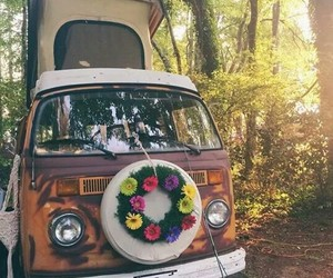 travel, car, and flowers image