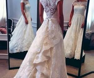 bride, lace, and weddingdress image
