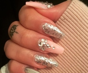 glitter, lotus, and nails image