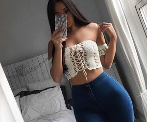 denim, lace, and crop top image