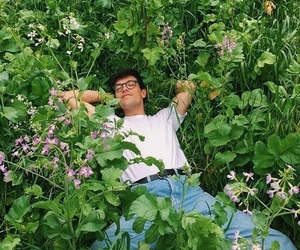 aesthetic, flowers, and boy image