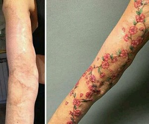 arms, flowers, and tatto image