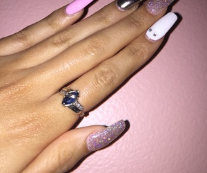 nails, pink, and coffinstyle image