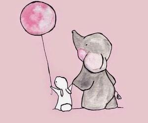 elephant, wallpaper, and rabbit image
