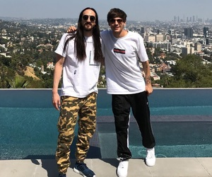 louis tomlinson, one direction, and steve aoki image