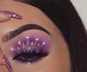 makeup, crown, and purple image