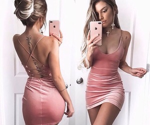 dress, peach, and fancy image
