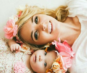baby, family, and flowers image