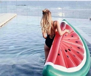 pool, watermelon, and summer image