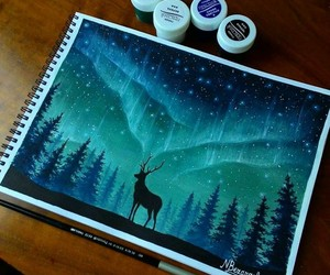 art, deer, and blue image