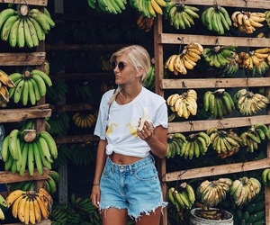 girl, banana, and summer image