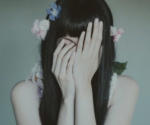 flowers, girl, and pale image