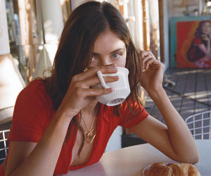 girl, coffee, and red image