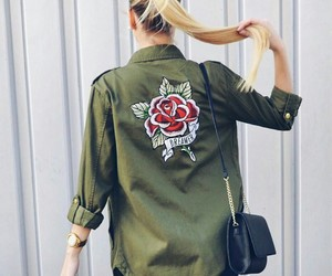 blonde, jacket, and khaki image