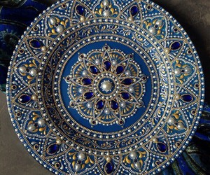 blue, dish, and gold image