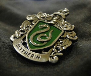 badge, hp, and slytherin image
