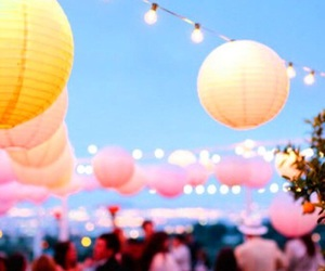 lantern, pink, and yellow image