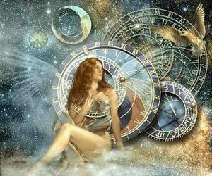 angel, zodiac, and sun moon image