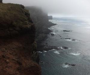 cliffs, fog, and iceland image