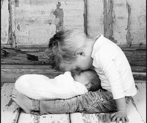 baby, black and white, and child image