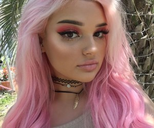 colored hair, dress, and eye makeup image