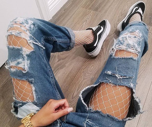 fishnets, jeans, and tights image