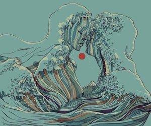 art, love, and ocean image