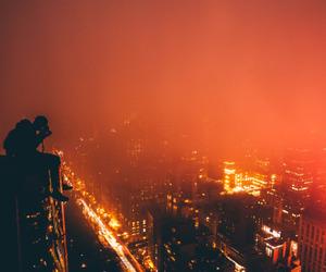 city, orange, and lights image