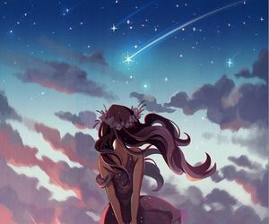 anime, girl, and sky image