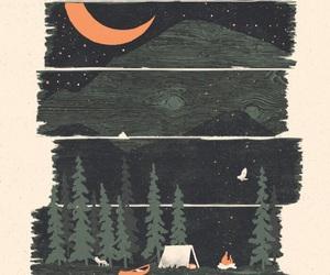 art, camping, and night image