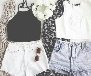 sunglasses, crop tops, and flower+crown image