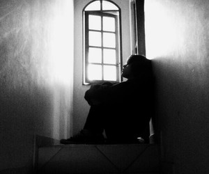 black and white, Darkness, and depression image
