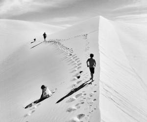sand, black and white, and desert image