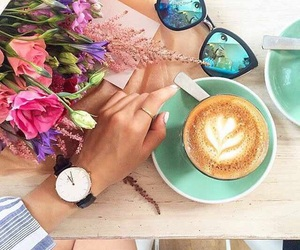 coffee, flowers, and sunglasses image