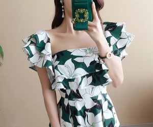 asian fashion, flower, and moda image